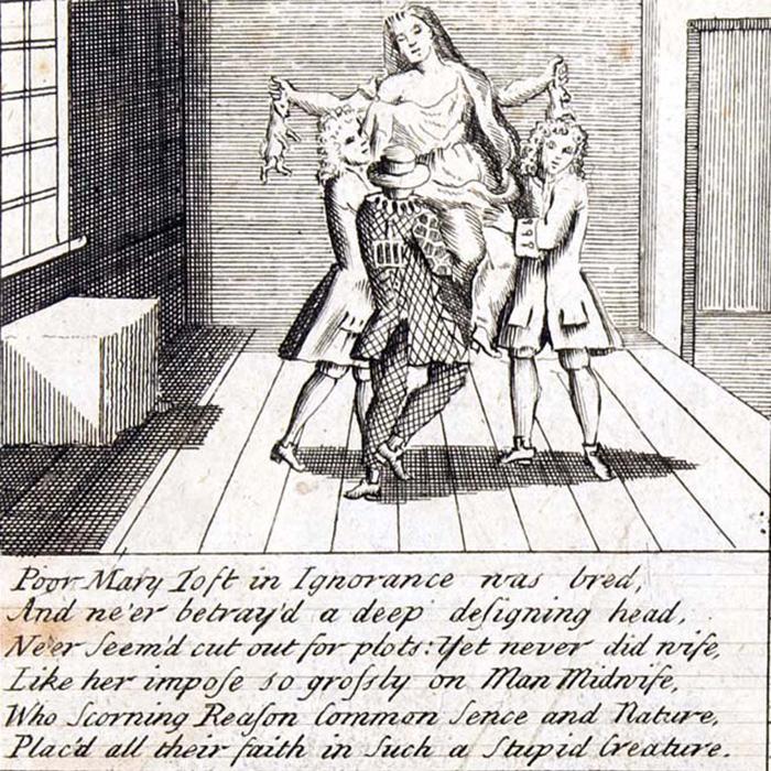 Иллюстрация к описанному скандалу, связанному с делом Мэри Тофт.