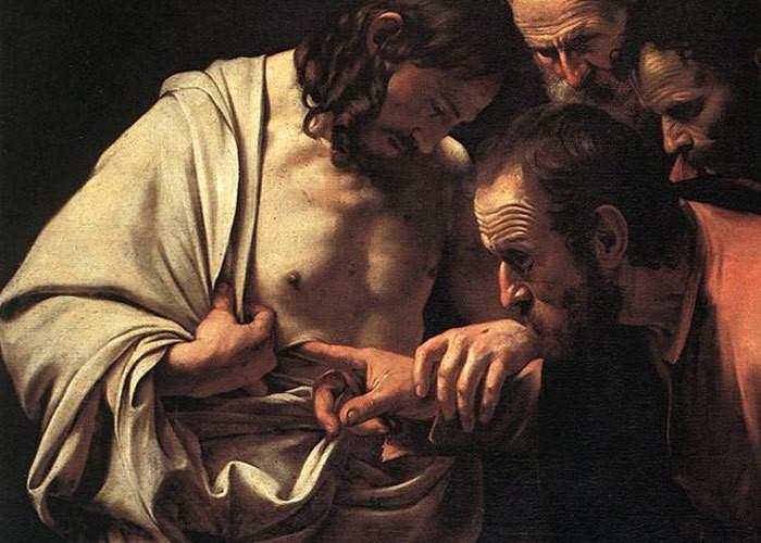 Фрагмент картины «Уверение Фомы», 1600-1602 годы.